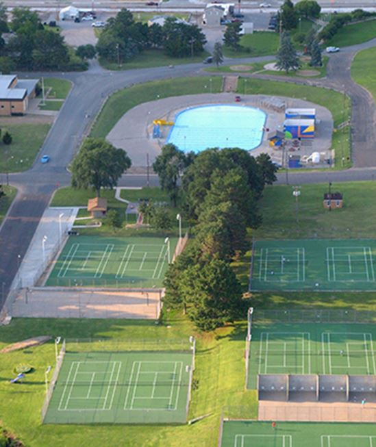 Tennis courts and pool